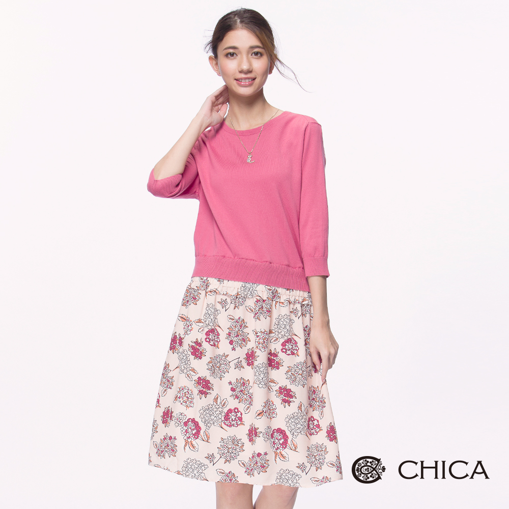 CHICA 日系恬靜手繪花束拼接設計長版針織衫(2色)