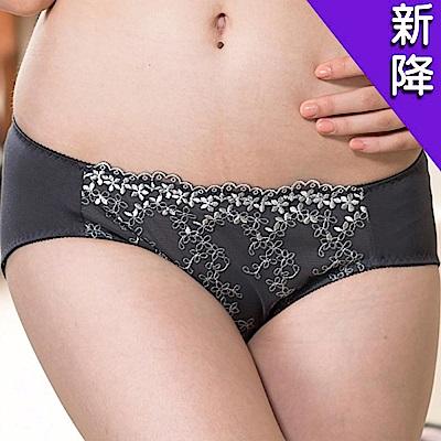 華歌爾 優雅花卉刺繡蕾絲M-2L中腰三角褲(淺灰藍)