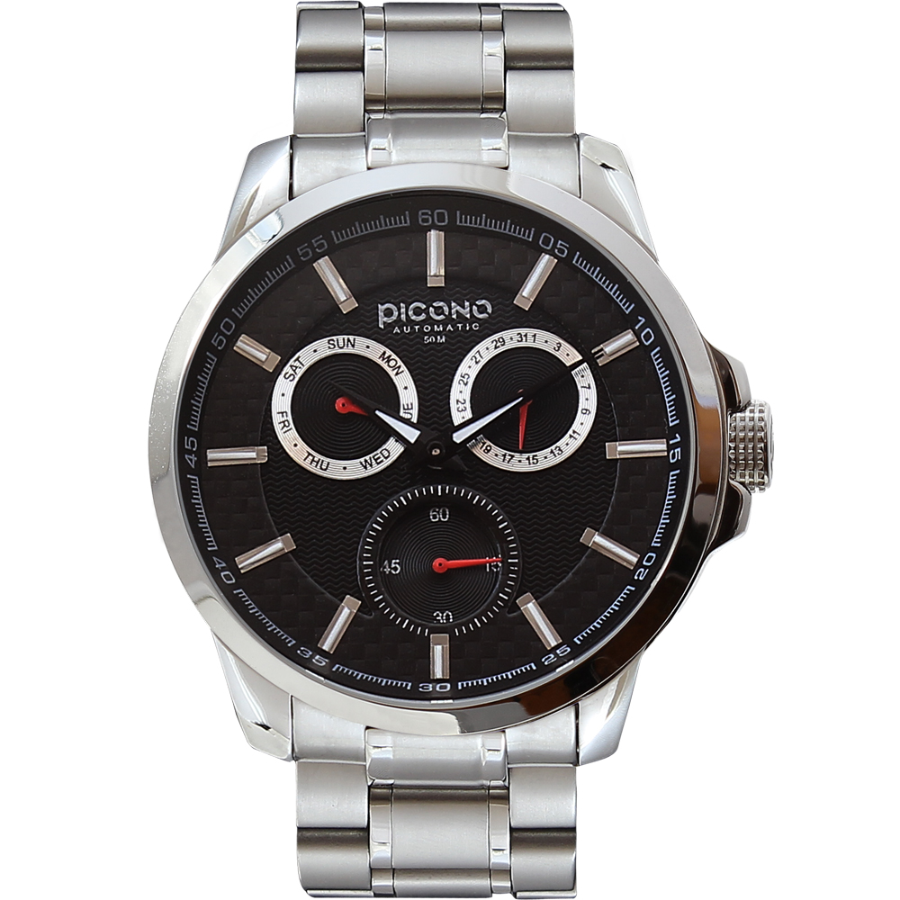 PICONO Eunice系列 全日曆時尚腕錶-黑/48mm