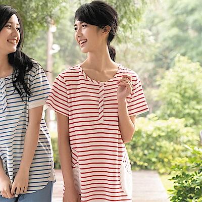 華歌爾睡衣 仕女系列 純綿居家休閒 M-L 短袖睡衣裙(條紋紅)
