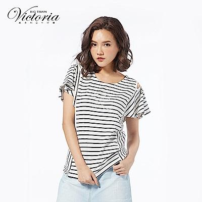 Victoria 挖肩設計荷葉波浪短袖-女-白底黑條