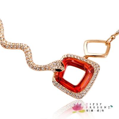 微醺禮物 項鍊 施華洛世奇水晶元素 雙蛇 毛衣鏈