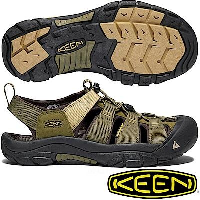 KEEN 1018941橄綠/沙石 Newport Hydro男戶外護趾涼鞋