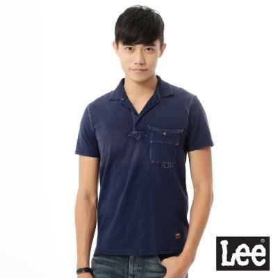 Lee 短袖POLO/101+男款-藍色