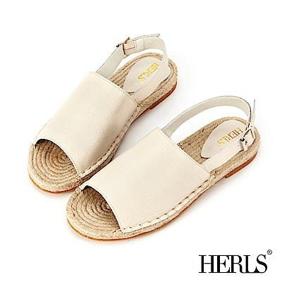 HERLS 海島邂逅 寬版真皮麻底涼鞋-米色