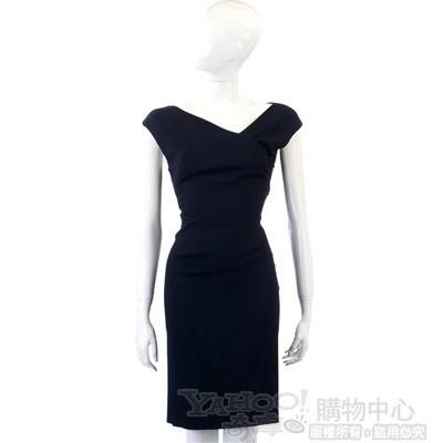 PHILOSOPHY-AF 深藍色斜領小包袖洋裝