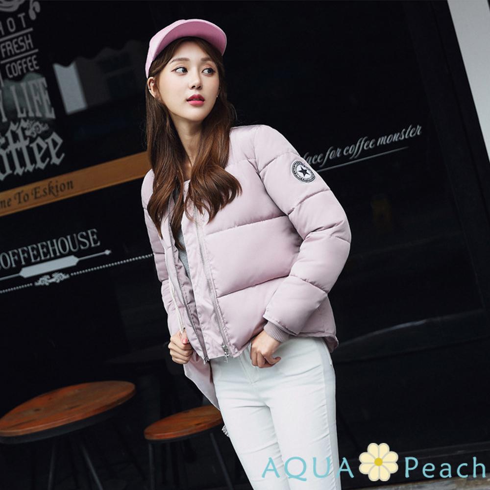 率性手臂徽章短版羽絨棉外套 (共三色)-AQUA Peach