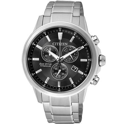 CITIZEN 光動能 鈦金屬三眼計時腕錶(AT2340-81E)-黑/42mm