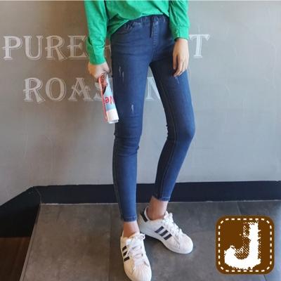 正韓  高腰鬆緊抽繩彈性窄管褲-(藍色)100%Korea Jeans