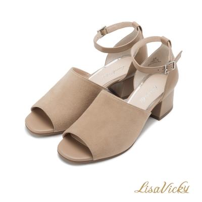 LisaVicky露趾魚口踝帶粗跟後包涼鞋-深棕色