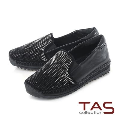 TAS 滿版漸層雙色水鑽內增高懶人鞋-焦點黑