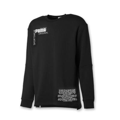 PUMA-男性流行系列文字圓領衫-黑色-歐規
