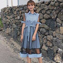 網紗拼接條紋翻領短袖洋裝 (共三色)-Kugi Girl