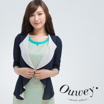 OUWEY歐薇-雪紡撞色抽皺袖罩衫