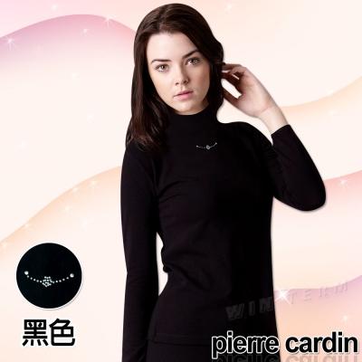 Pierre Cardin皮爾卡登 女時尚彈性保暖高領長袖衫(黑色3入組)-台灣製造