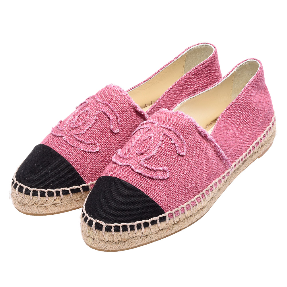 CHANEL 經典Espadrilles小香LOGO單寧厚底鉛筆鞋(粉紅X黑)