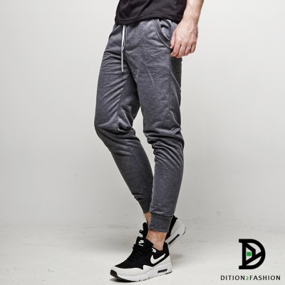DITION 春夏薄款JOGGER素面縮口棉褲 束口螺紋飛鼠褲