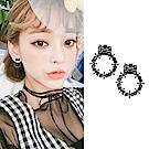 梨花HaNA 無耳洞韓國黑色柳釘花環耳環夾式