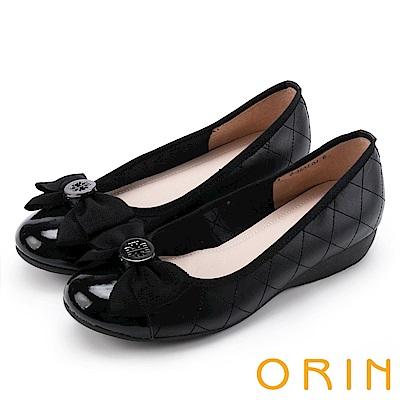 ORIN 時尚甜心 圓型飾釦蝴蝶結牛皮娃娃鞋-菱格黑