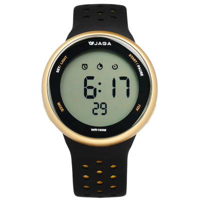 JAGA 捷卡電子運動倒數計時計時碼錶鬧鈴防水透氣矽膠手錶-黑金色/44mm