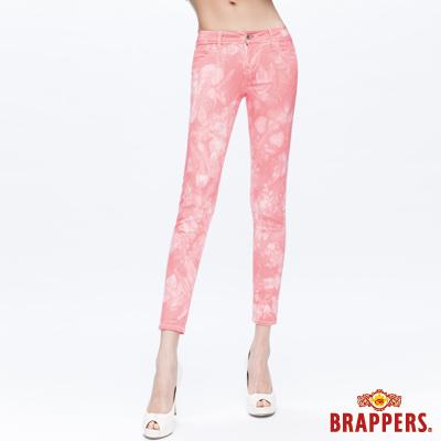 BRAPPERS 女款 新美腳Royal-Cargo系列-女用中腰彈性九分褲-粉橘雪花
