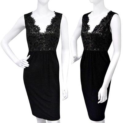 GUCCI 蕾絲亮澤繡印質感抓皺洋裝【XS號】(黑色)