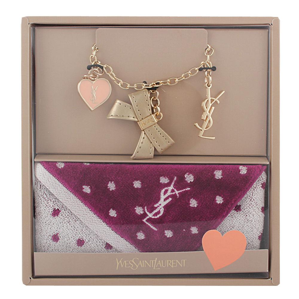 YSL 甜美公主風吊飾雪花點點方巾禮盒組-奢華金