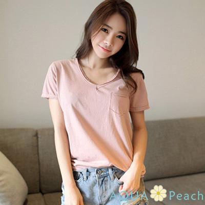 胸前單口袋短袖圓領T恤(共四色)-AQUA Peach