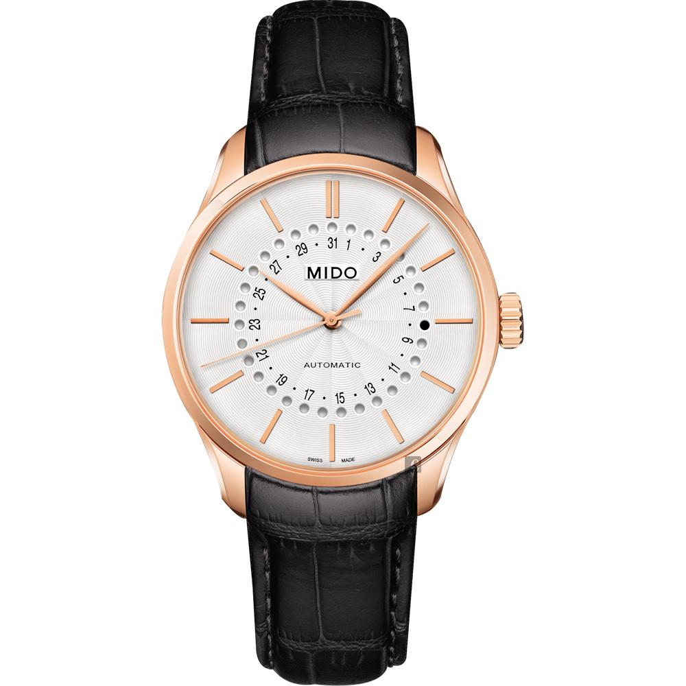 MIDO美度 Belluna 系列日期機械錶-白x玫塊金框/40mm