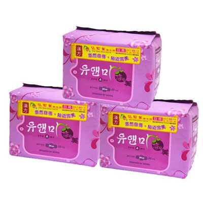 悠安美漢方衛生棉日用24cm-(20片×3入裝)