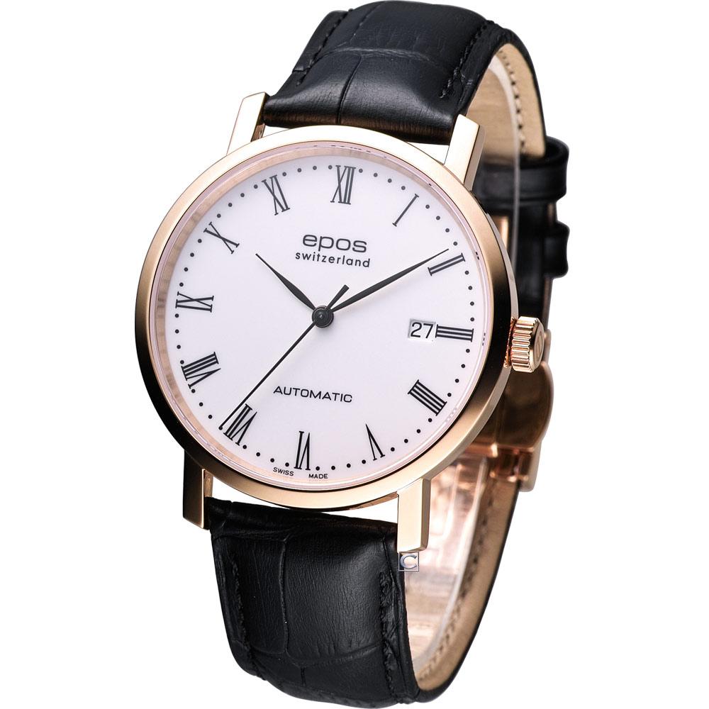 EPOS 典藏時尚紳士機械錶-玫瑰金框/39mm
