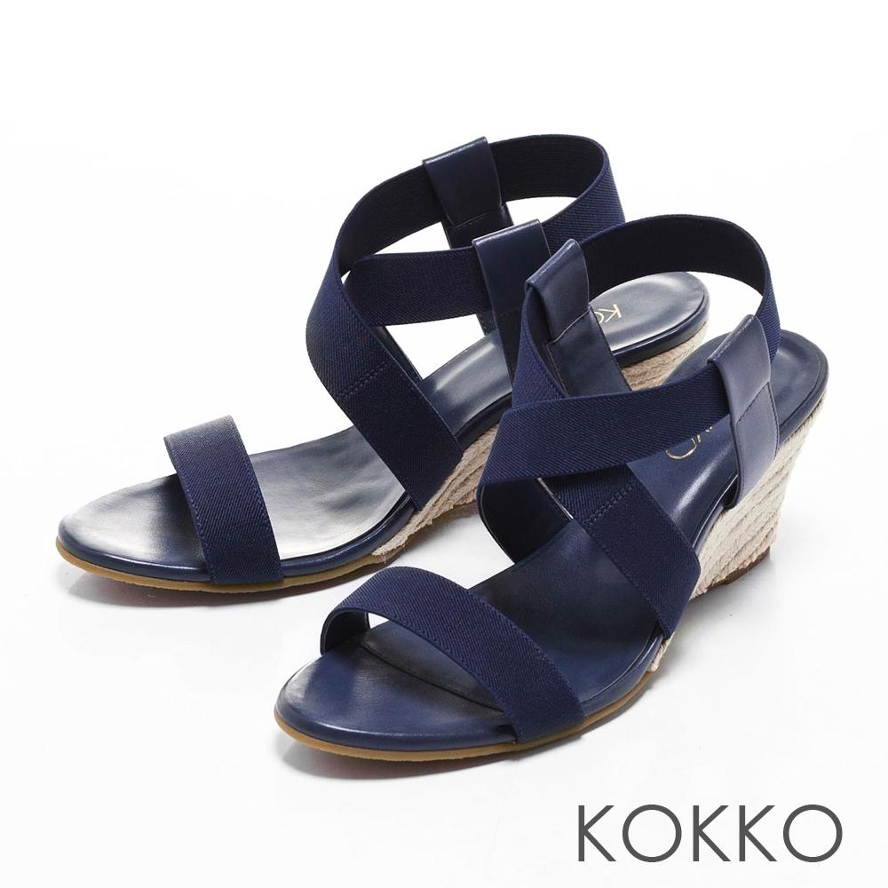 KOKKO日本同步百搭羅馬麻繩楔型涼鞋深藍