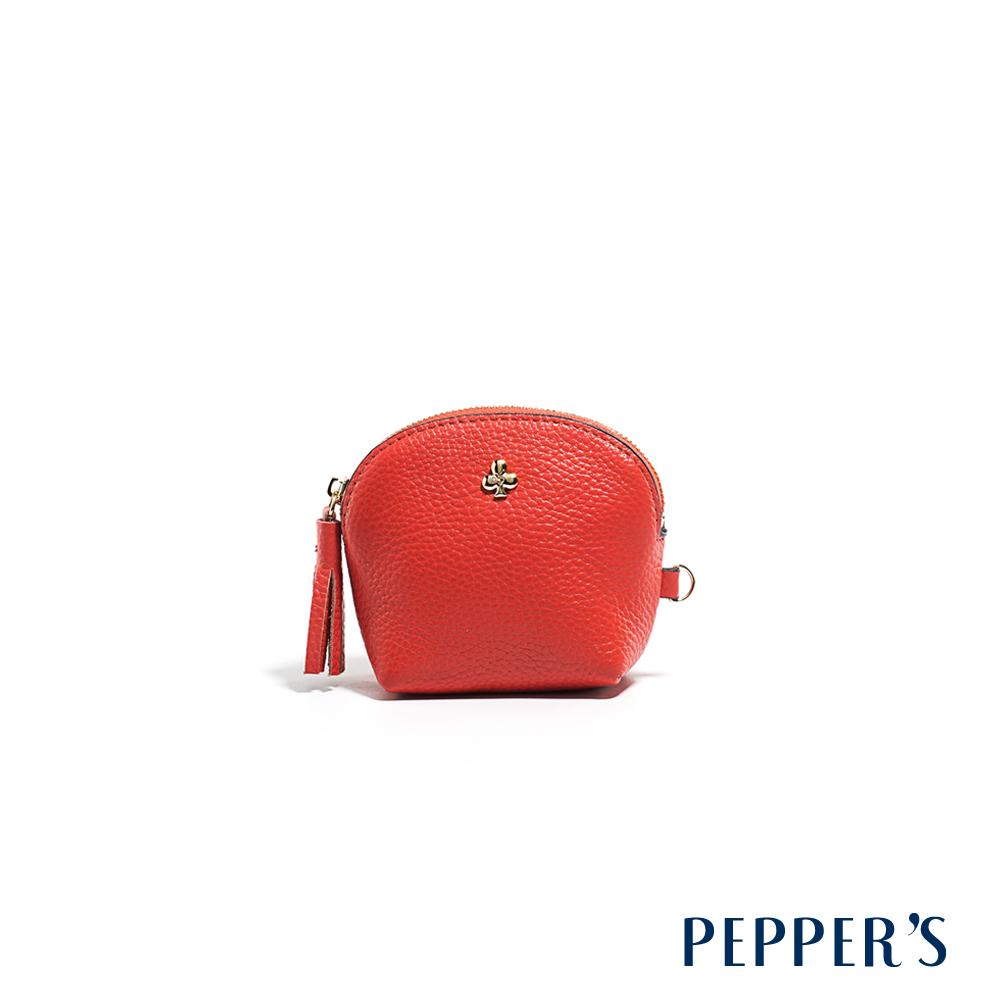 PEPPER`S Doris 牛皮貝殼零錢鑰匙包 - 西瓜紅
