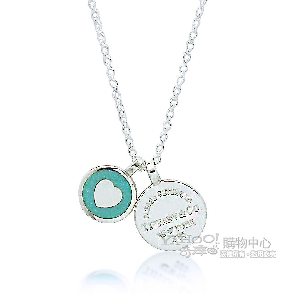 Tiffany&Co. Return to Tiffany粉藍琺瑯雙圓牌刻字925純銀項鍊