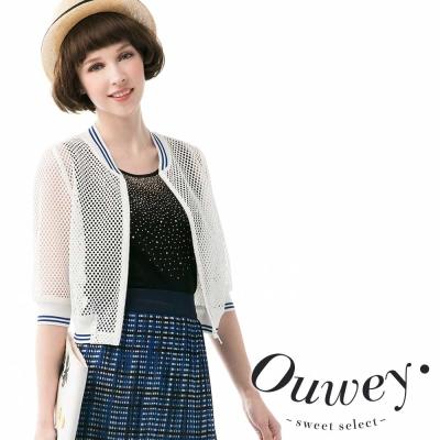 OUWEY歐薇-純色網眼拉鍊棒球外套