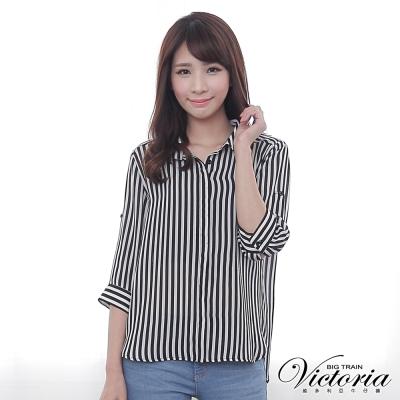 Victoria 直條七分袖襯衫-女-黑白條
