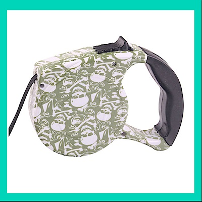 摩達客 輕巧印花紋系列寵物自動伸縮牽繩(骷髏圖紋 /5米長 /15KG以下適用)