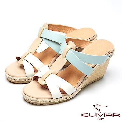 CUMAR撞色時尚-經典編織造型楔型跟涼鞋-藍色