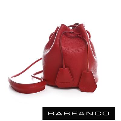 RABEANCO 真皮荔枝紋經典束口水桶包 - 石榴紅