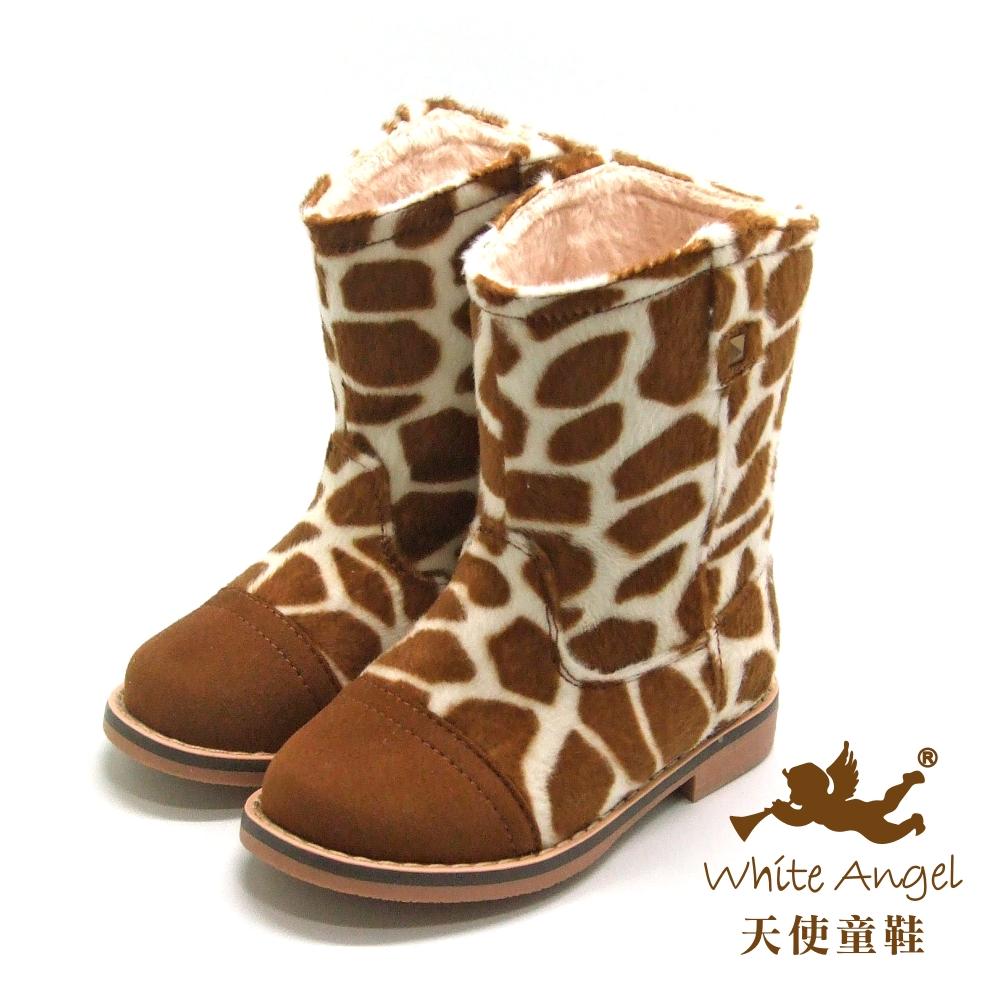 天使童鞋-D388 帥氣斑紋筒靴(中童)-棕