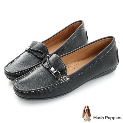 Hush Puppies RENITA 編織皮繩樂福鞋-黑色