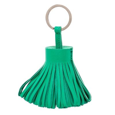 HERMES 流蘇造形雙色小羊皮鑰匙圈手袋吊飾 綠色