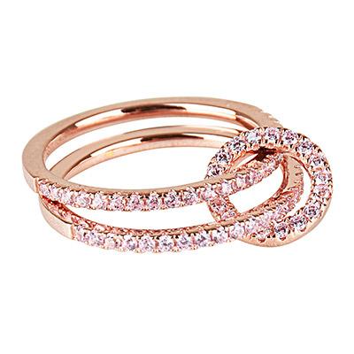 apm MONACO PROMESSE系列粉金晶鑽鑲飾純銀雙行環扣戒指-玫瑰金