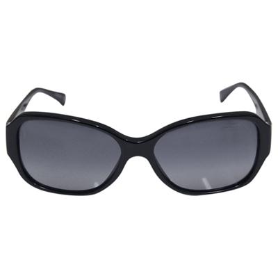 COACH 膠框貼鑽時尚墨鏡-黑(附原廠眼鏡盒)