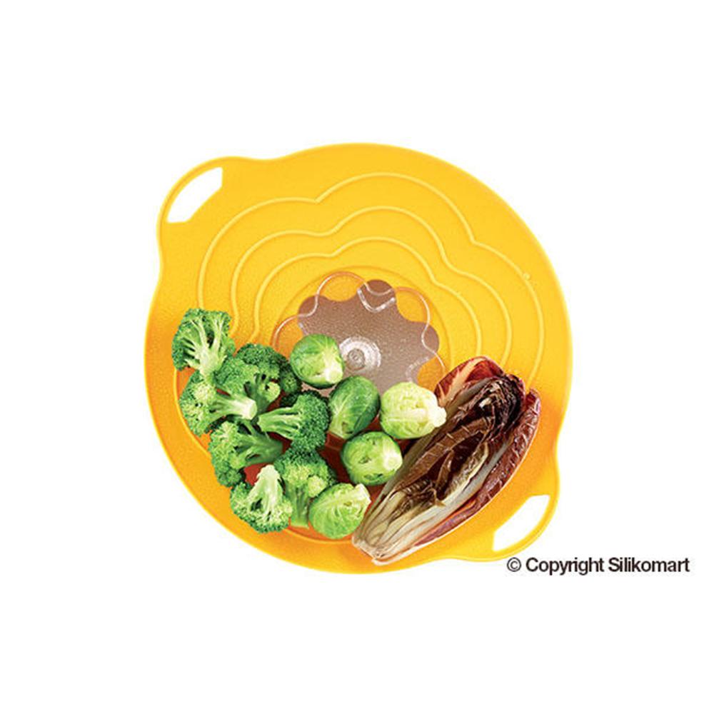 義大利製SiliKoMart專利防漏-聰明蒸煮鍋蓋(L+S)-黃