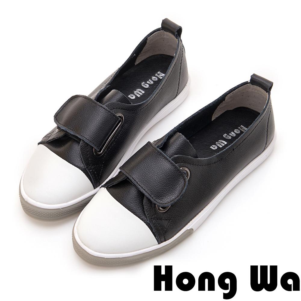 Hong Wa 日系撞色扣帶牛皮休閒便鞋 - 黑
