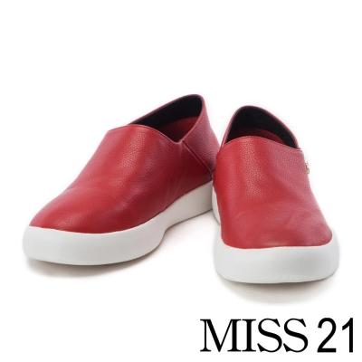 休閒鞋 MISS 21 低調個性風金屬五角星點綴全真皮休閒鞋-紅