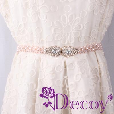 Decoy 滴型水鑽 編織珍珠腰封 粉