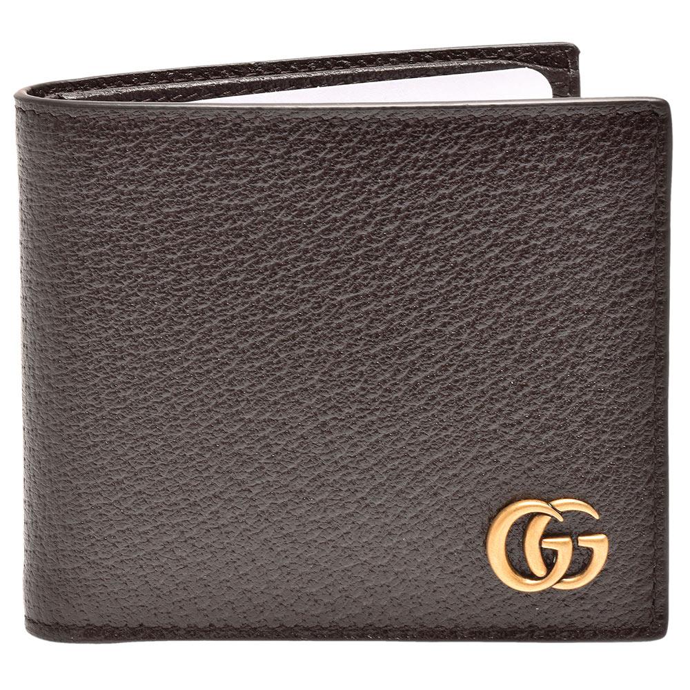 GUCCI 經典GG Marmont系列金屬GG LOGO牛皮折疊短夾(深咖啡色-8卡)