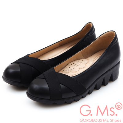 G.Ms. MIT系列-牛皮交叉鬆緊帶厚底包鞋-雅緻黑
